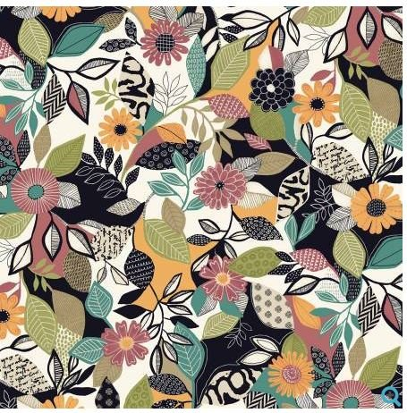 4186-MU P&B Textiles Farah Flowers Geometer Flower Design