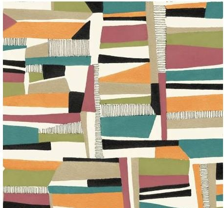 4187-MU P&B Textiles Farah Flowers Geometer Design