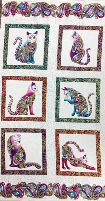 4200M-09, Benartex, Cat-I-Tude, Panel, 23.5 x WOF, White