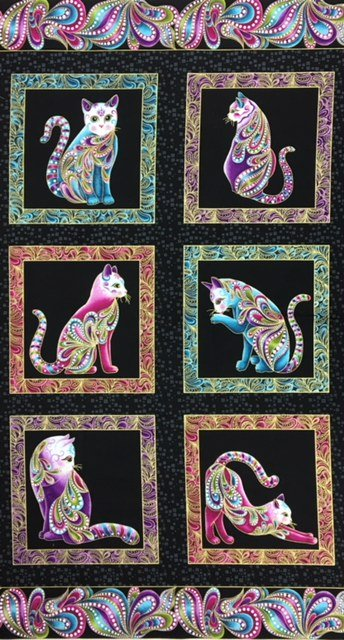 4200M-12, Benartex, Cat-I-Tude, Panel, 23.5 x WOF, Black