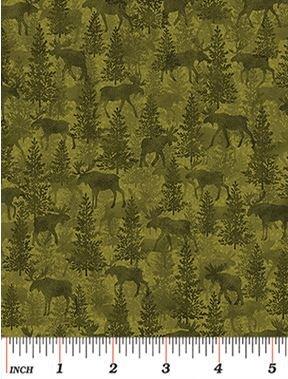 4302-44 Benartex  Moose on the Loose Moose Green