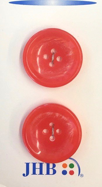 43194, JHB Button Polyester Red 4-Hole 2 pk 1 inch