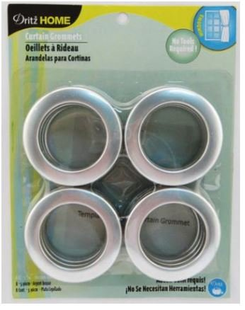 44373 Dritz 1 Curtain Grommets Brushed Silver (8 per set)