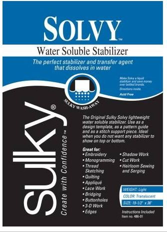 486-01 Sulky Stabilizer Solvy Water Soluble 19.5 by 36 Translucent