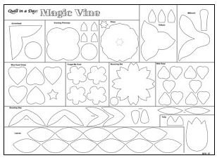 5019QD Magic Vine Flowers and Vines Eleanor Burns Quilt in a Day Fusible Web.