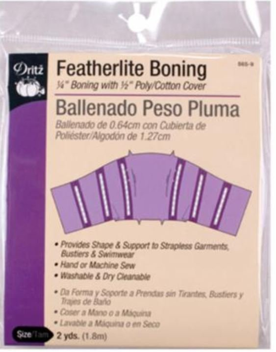 565-9 Dritz Featherlite Boning 1/4 with 1/2 Poly Cotton Cover 2 Yards