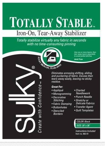 662-01 Sulky Stabilizer Totaly Stable Iron-On Tear Away 20 by 36 Black