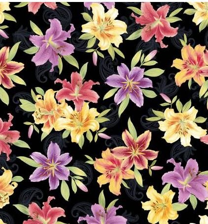 6720PB-99 Benartex Lilyanne Black/Multi Big Lily Allover Pearlized