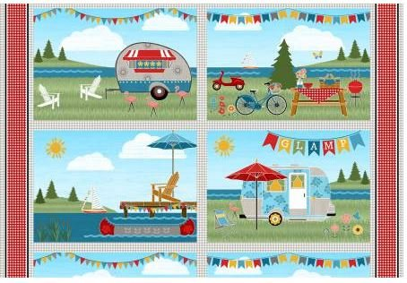 68411-974, Wilmington Prints, Let's Go Glamping, Placemat Panel
