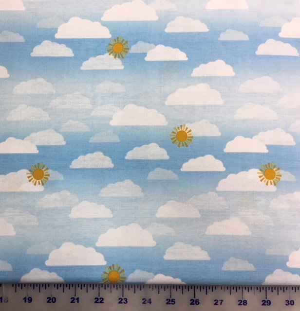 68417-145 Wilmington Prints Let's Go Glamping Light Blue Clouds