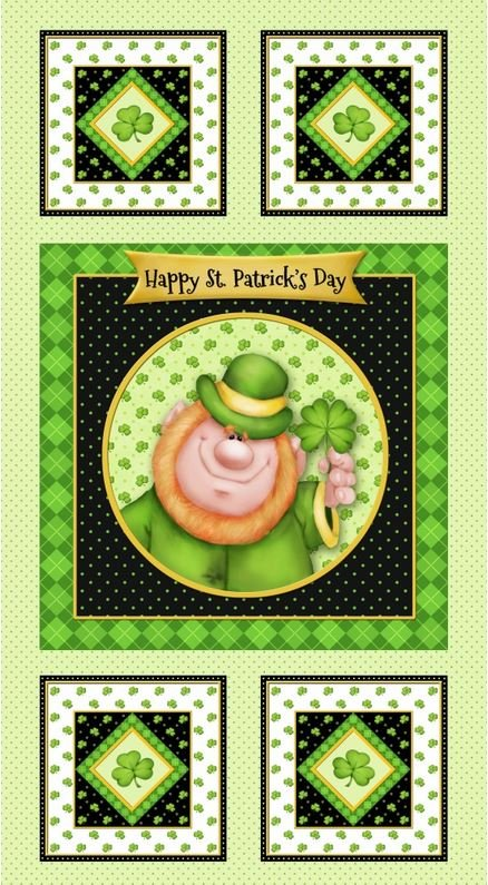 6849P-66 Henry Glass Lucky Me St Patricks Day Panel - Free downloadable pattern link below.