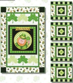 6849P-66KIT Henry Glass Lucky Me St Patricks Day Wall Hanging and Placemats - Free downloadable pattern link below.