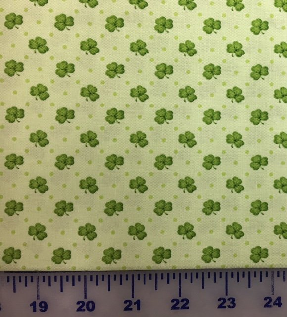 6852-66 Henry Glass Lucky Me Lt Green Shamrocks