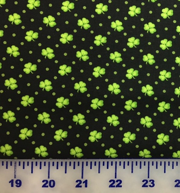 6852-99 Henry Glass Lucky Me Black Shamrocks