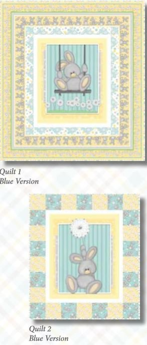 68912-AKIT  Henry Glass Fluffy Bunny Aqua Colorway Quilt 1  37 x 41  Quilt 2 28 x 32