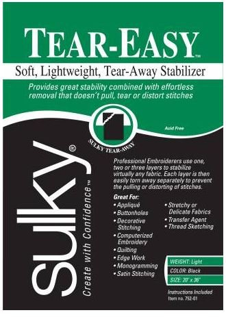 752-01 Sulky Stabilizer Light Weight Tear Easy Black 20 by 1 yard