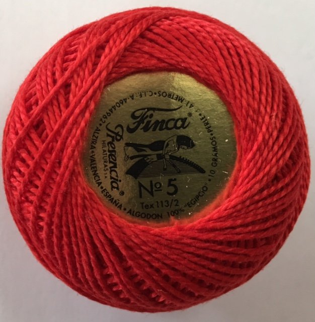 816-05-1166 Presencia Bright Red Finca Perle Cotton Size 5 10 gram ball