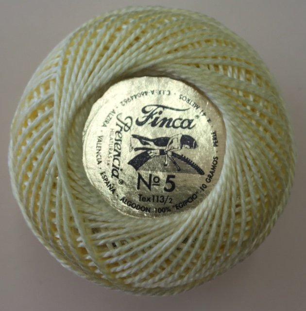 816-05-1214 Presencia Light Yellow Finca Perle Cotton Size 5 10 gram ball