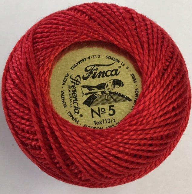 816-05-1902 Presencia Red Finca Perle Cotton Size 5 10 gram ball