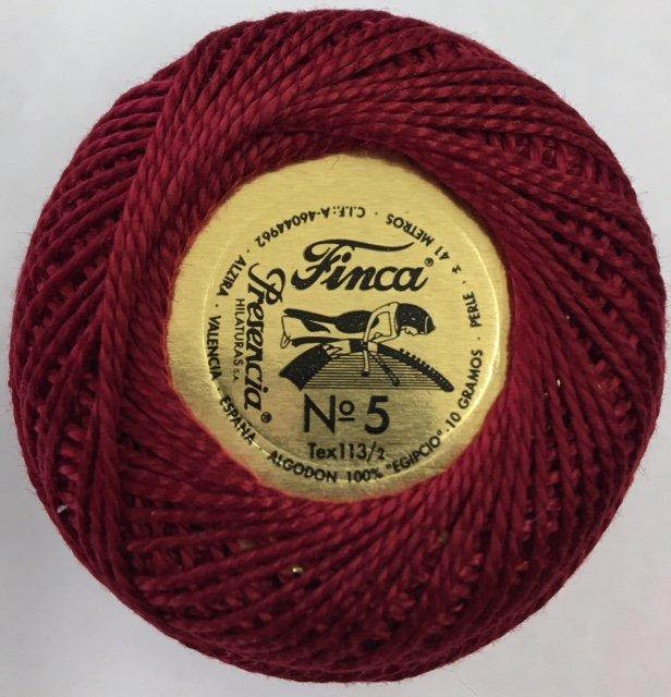 816-05-1915 Presencia Dark Cranberry Finca Perle Cotton Size 5 10 gram ball
