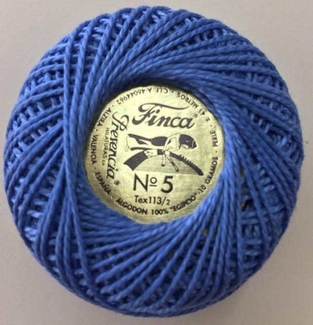 816-05-3396 Presencia Medium Delf Blue Finca Perle Cotton Size 5 10 gram ball