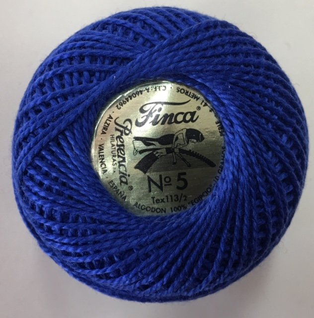 816-05-3411 Presencia Very Dark Royal Blue Finca Perle Cotton Size 5 10 gram ball