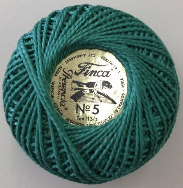 816-05-4350 Presenica Emerald Green Finca Perle Cotton Size 5 10 gram ball