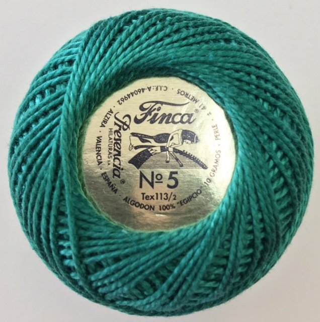 816-05-4368 Presencia Dark Emerald Green Finca Perle Cotton Size 5 10 gram ball