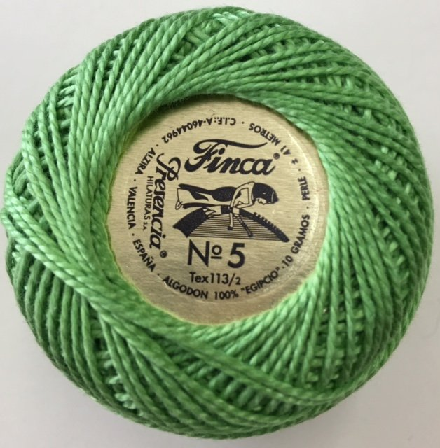 816-05-4636 Presencia Chartreus Finca Perle Cotton Size 5 10 gram ball