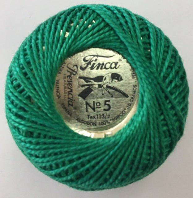 816-05-4652 Presencia Green Finca Perle Cotton Size 5 10 gram ball
