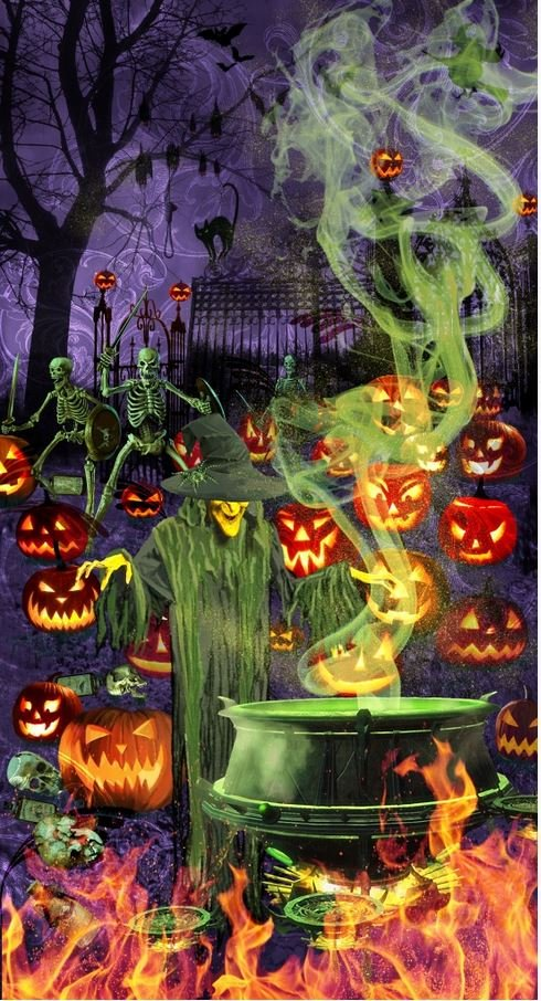 9168GP-55, Blank Textiles, Fright Night Glow in the Dark Holloween Panel