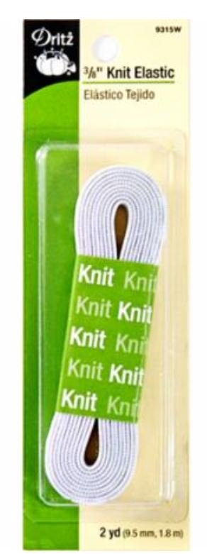 9315W Dritz 3/8 Wide Knit Elastic 2 yds