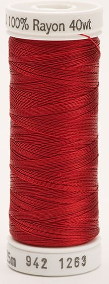 942-1263 Sulky 100% Viscose Rayon 250 yrds 40 wt Red Jubilee