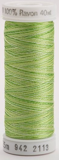 942-2113 Sulky 100% Viscose Rayon 250 yrds 40 wt Bright Greens Vari