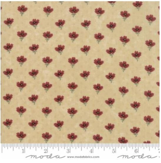 9593-11 On Meadowlark Pond by  Kansas Trouble  Tan with red flowers