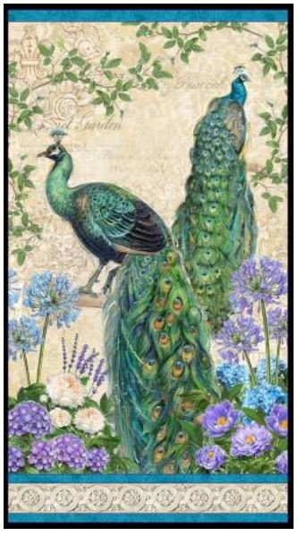 96410-176 Wilmington Prints Plumage Peacock Panel
