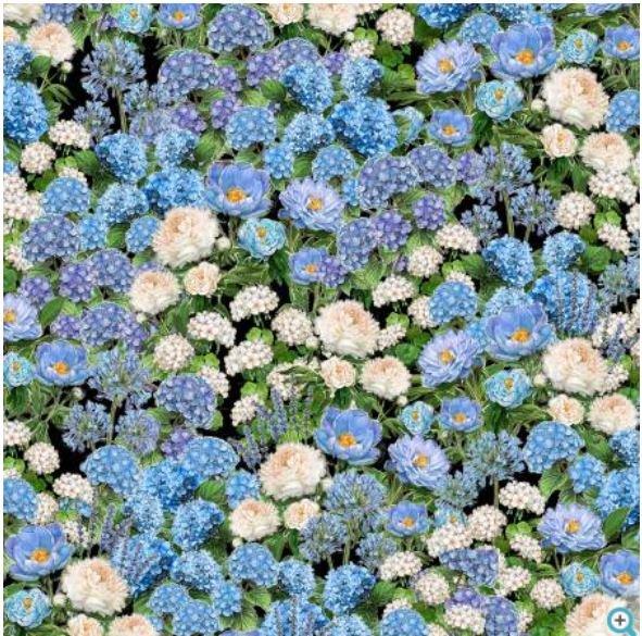 96413-947 Wilmington Prints Plumage Black Cream Blue Floral