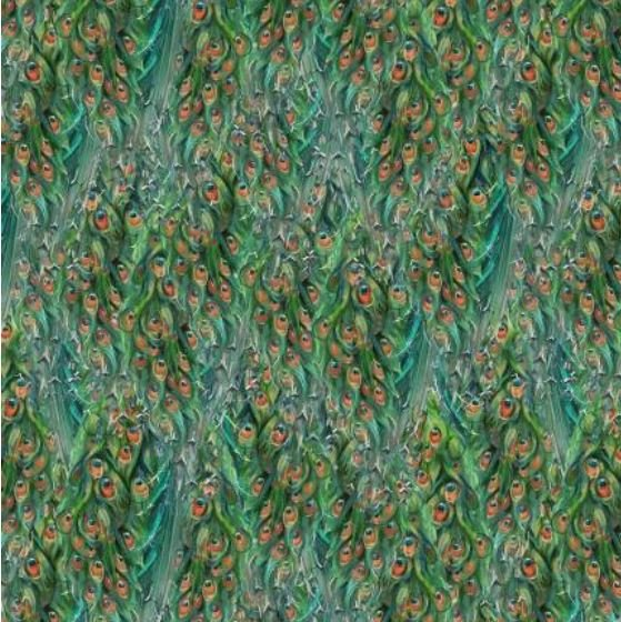 96415-784 Wilmington Prints Plumage Peacock Green Tail Texture
