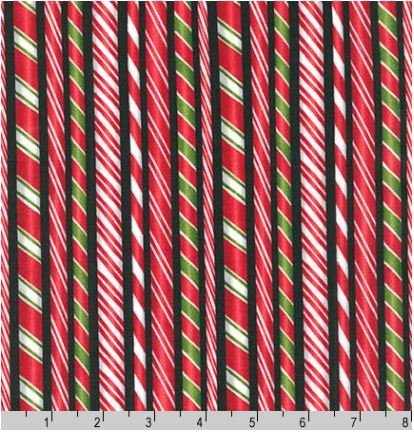 15178-2BLK Holly Jolly Christmas Candy Canes Red Robert Kaufman