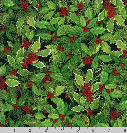 15179-2BLK Holly Jolly Christmas Holly Green Robert Kaufman