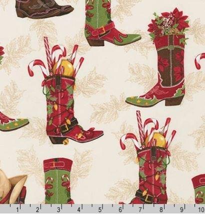 AMK-15181-223 Holly Jolly Christmas Boots Cream Robert Kaufman