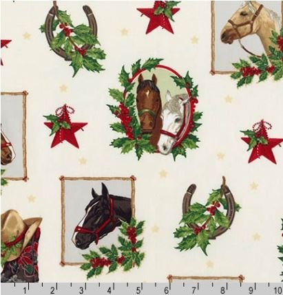 15808-15IVRY Holly Jolly Christmas Horses Robert Kaufman