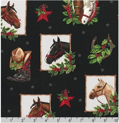 15808-2BLK Holly Jolly Christmas Horses Robert Kaufman