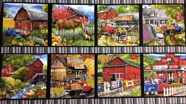 B-9354-39 Blank Quilting Countryside Blocks 23 in by WOF