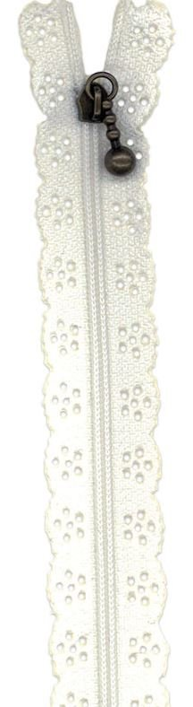 BCS1140ZW Little Lacie Zipper, White, 8 inch