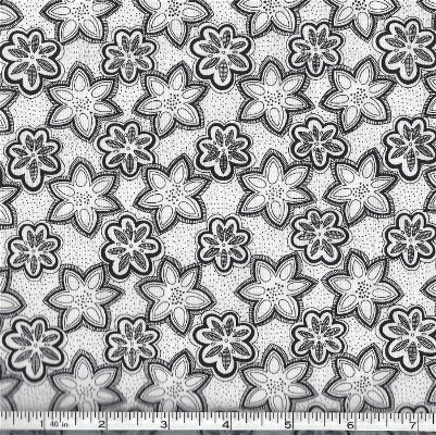 BTR4412-BLK Blank Quilting White Speckled background with Black Star Flowers