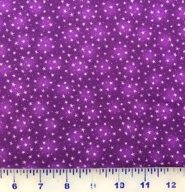 BTR6383-PUR Blank Quilting Starlet Purple background with tiny white stars