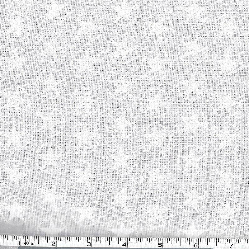 BTR7422-001 Stars in Ring Western Whites White Tone on Tone