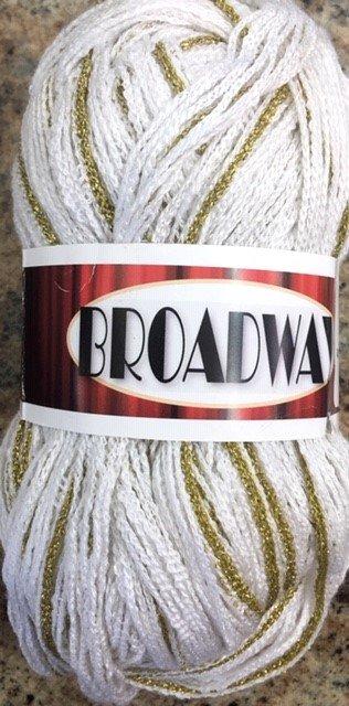 BWAY-10 Euro Broadway Ribbon Yarn White with Gold