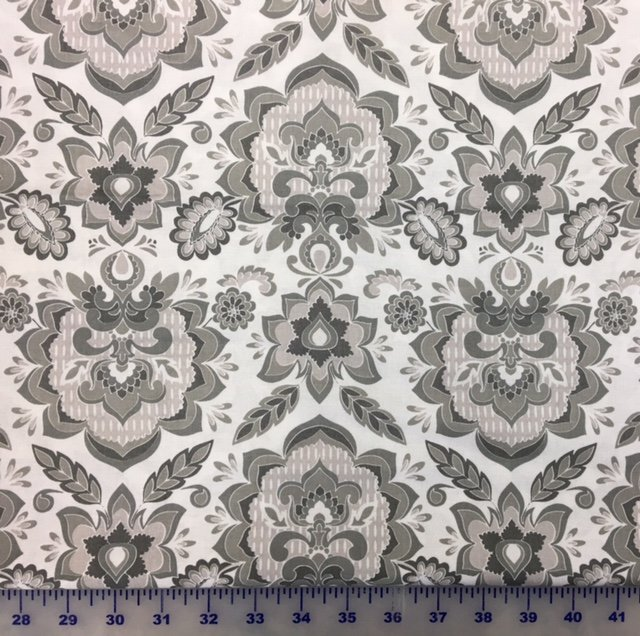 C5471-WHITE Fantine Main Riley Blake White on Gray Floral